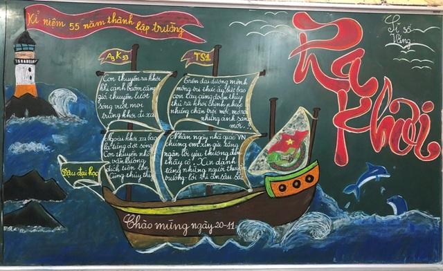 Độc đáo báo tường bằng... phấn vẽ trên bảng đen mừng Ngày Nhà giáo Việt Nam - 10