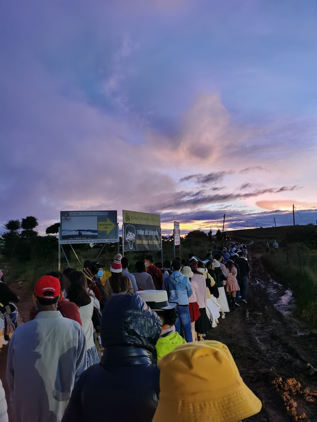 Hundreds of tourists lined up from 5am to hunt clouds in Da Lat - 1