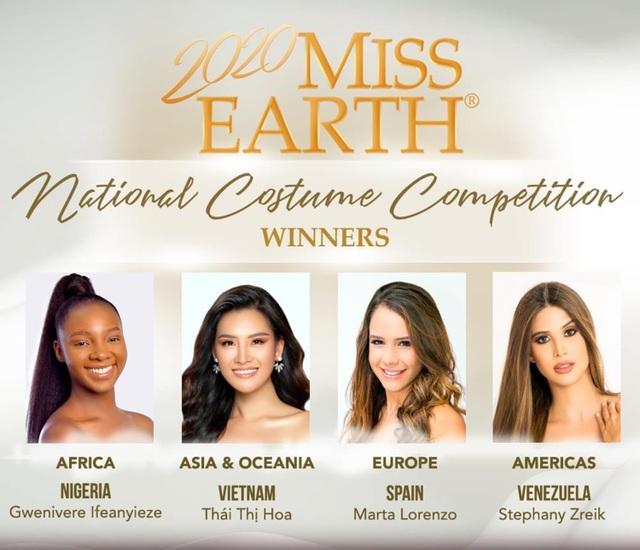 Thái Thị Hoa đạt giải nhất Trang phục Dân tộc tại Hoa hậu Trái Đất - 1