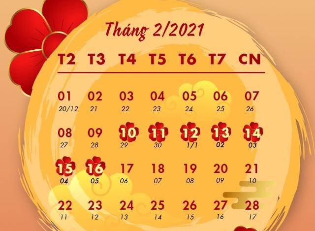 Chính thức chốt lịch nghỉ Tết Nguyên đán Tân Sửu - 1