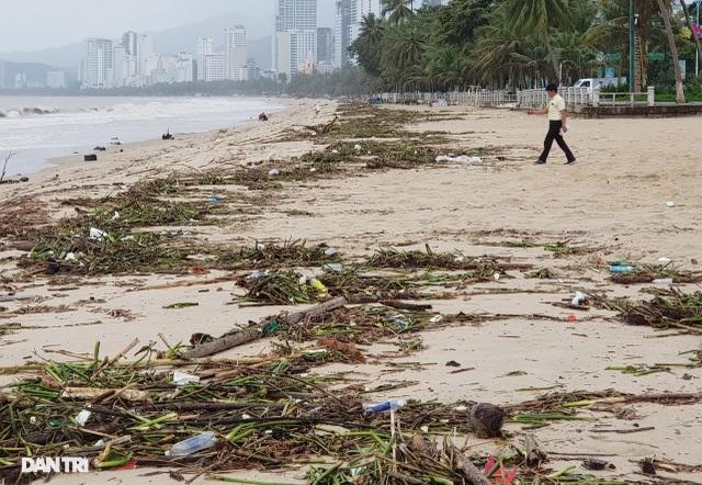 Bãi biển Nha Trang ngập ngụa rác sau mưa lũ - 1