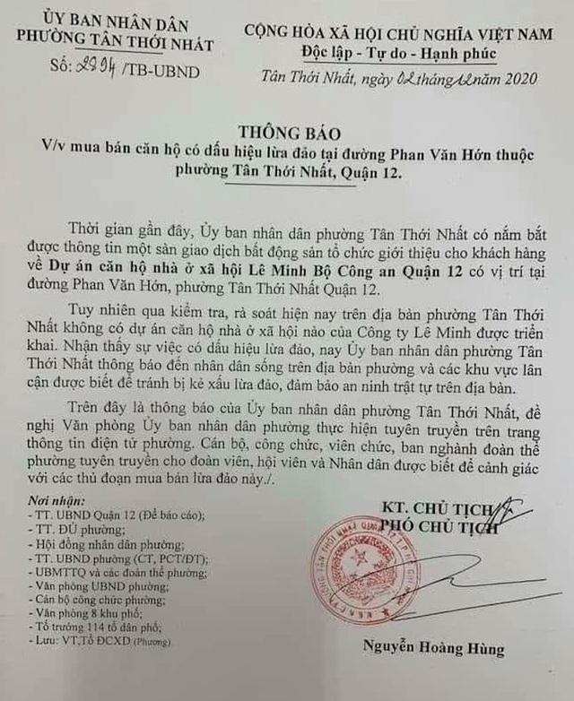 TPHCM: Chính quyền đưa ra cảnh báo dấu hiệu lừa đảo mua bán căn hộ Lê Minh - 1