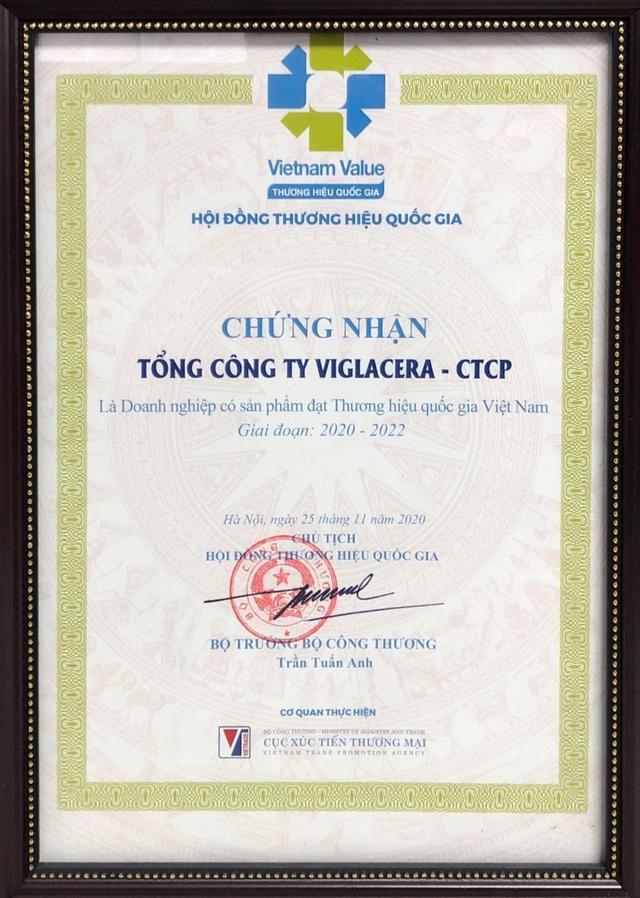 Viglacera tự hào đón nhận danh vị Thương hiệu Quốc gia Việt Nam - 2