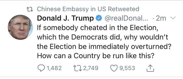 Đại sứ quán Trung Quốc chia sẻ tweet tố gian lận bầu cử của ông Trump - 1