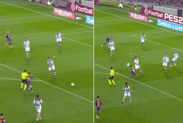 Messi nổi nóng vì bị trọng tài... cản đường - 1