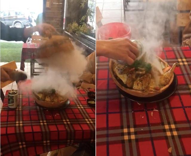 Lạ lùng gà nướng đá núi lửa ở Đà Lạt, thực khách ăn phải dùng búa đập niêu - 4
