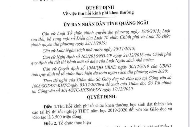 Dừng chi 3,5 tỷ đồng khen thưởng học sinh: Chủ tịch tỉnh yêu cầu báo cáo - 2