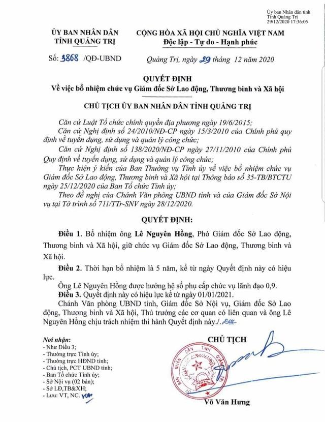 Ông Lê Nguyên Hồng được bổ nhiệm làm Giám đốc Sở LĐ-TBXH tỉnh Quảng Trị - 1