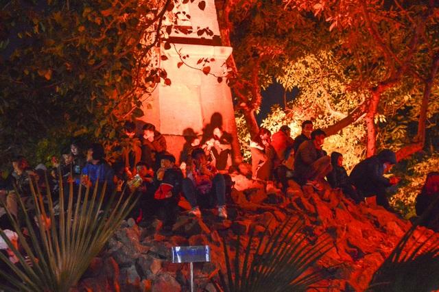 Người dân trèo lên Tháp Bút, mở tiệc ăn nhậu trên bãi cỏ để ngắm pháo hoa - 2
