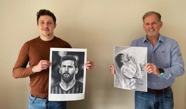 Xúc động trước những bức tranh vẽ Messi và Maradona - 1