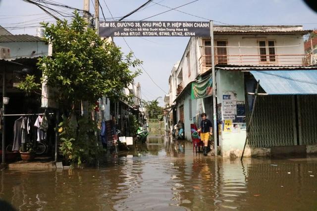 Trời không mưa, đường ở TP Thủ Đức vẫn ngập như sông - 6