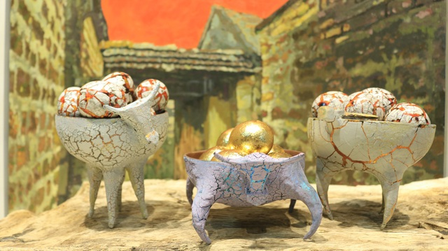 Gold-plated wooden buffaloes 1010 in an old village near Hanoi - 6