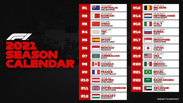 Lịch thi đấu F1 mùa giải 2021 không có Việt Nam - 2