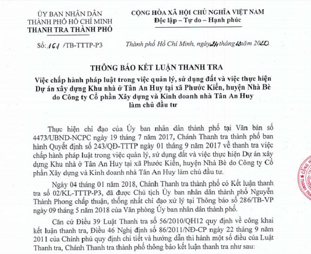 Thanh tra TPHCM khui hàng loạt sai phạm của khu nhà ở Tân An Huy - 1