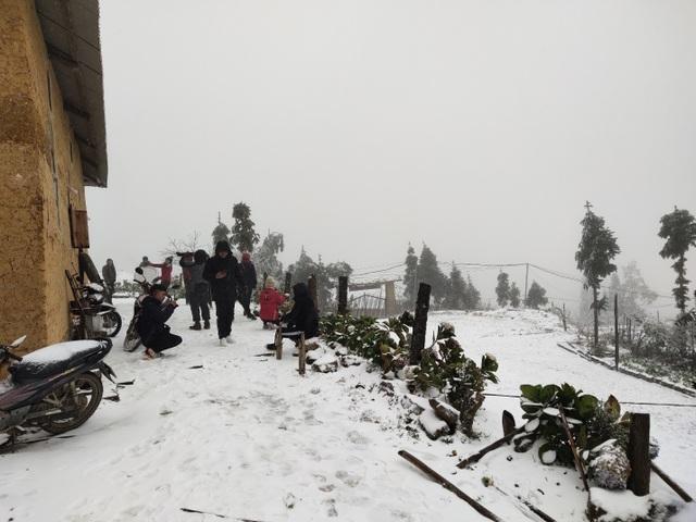 Tuyết rơi trắng xóa ở Lào Cai, du khách đua nhau khoe hình check-in - 1