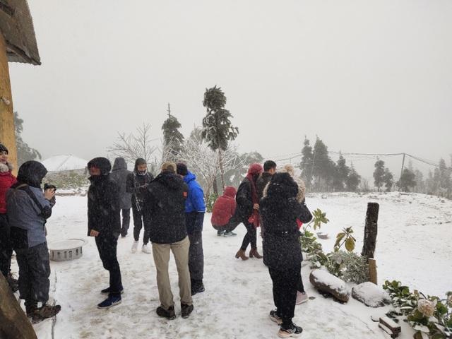 Tuyết rơi trắng xóa ở Lào Cai, du khách đua nhau khoe hình check-in - 4