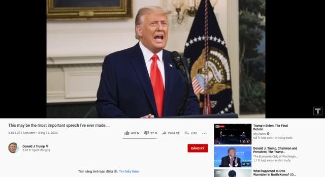 Sau Facebook và Twitter, đến lượt Youtube cấm cửa tổng thống Trump - 1
