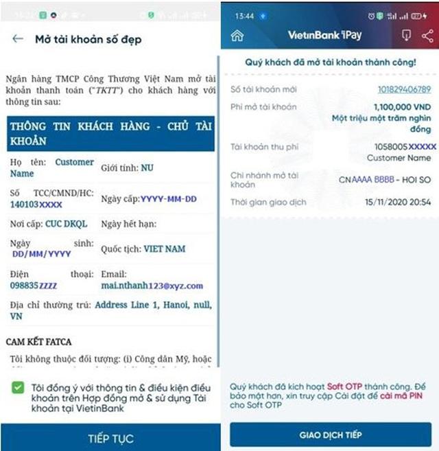 Giảm phí khi đăng ký tài khoản số đẹp trên VietinBank iPay Mobile - 5