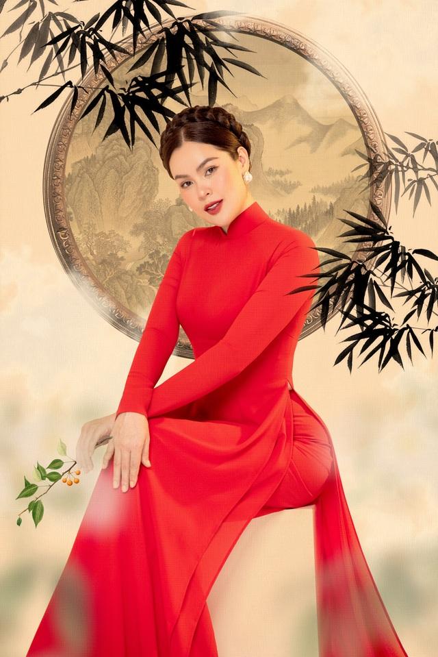Hoa hậu Phương Lê  khoe sắc với áo dài - 5