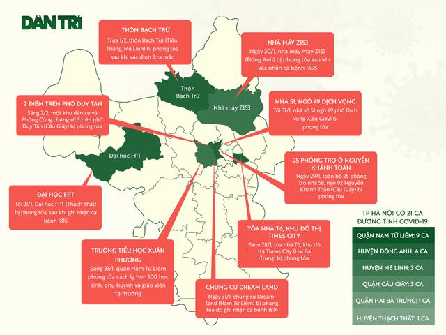 Bản đồ 9 khu vực ở Hà Nội đang bị phong tỏa do Covid-19 - 1