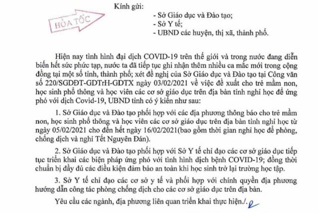 Quảng Bình, Quảng Trị cho học sinh nghỉ Tết sớm do dịch Covid-19 - 1