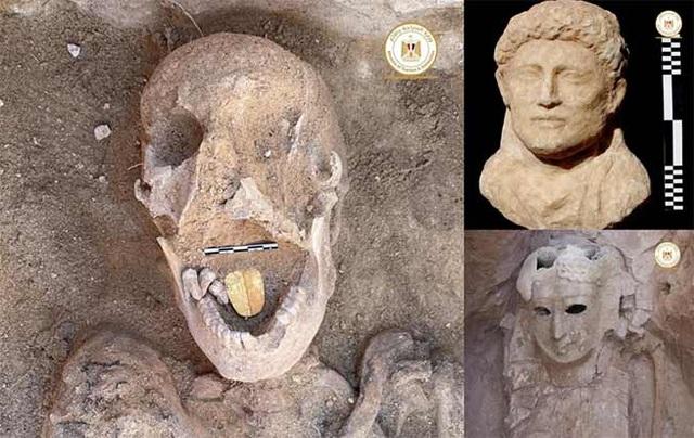 Phát hiện xác ướp lưỡi vàng nghi là lăng mộ của Nữ hoàng Cleopatra - 1