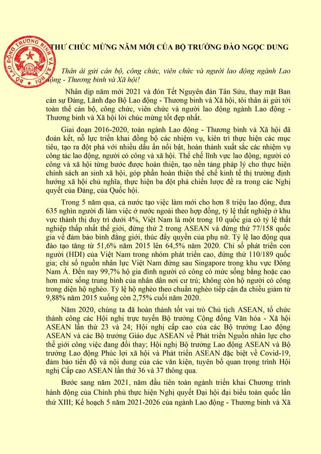 Bộ trưởng Đào Ngọc Dung gửi thư chúc mừng năm mới tới Ngành LĐ-TBXH - 1