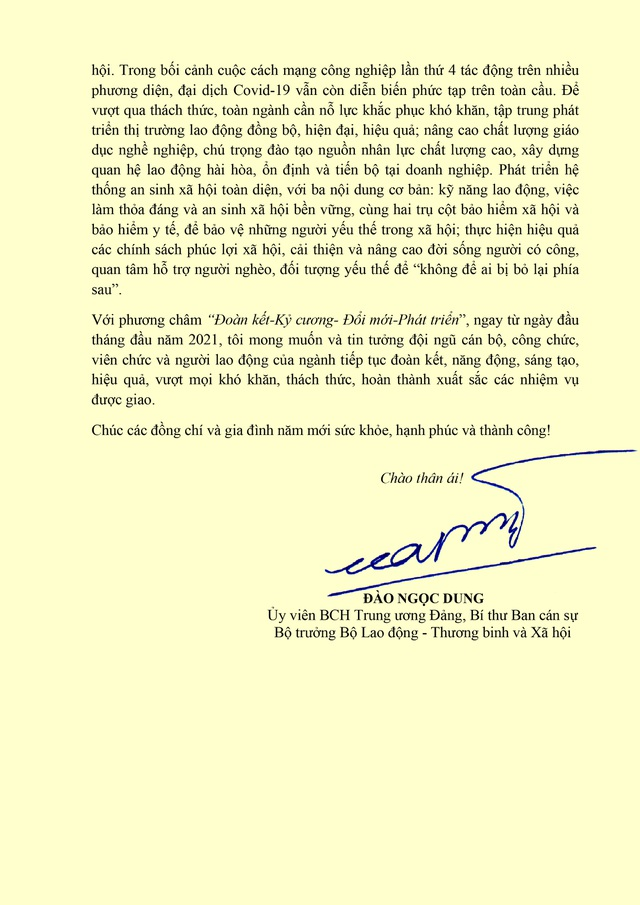 Bộ trưởng Đào Ngọc Dung gửi thư chúc mừng năm mới tới Ngành LĐ-TBXH - 2