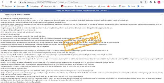 Tin giả về tự điều trị Covid-19 tại nhà lan truyền trên mạng xã hội - 1