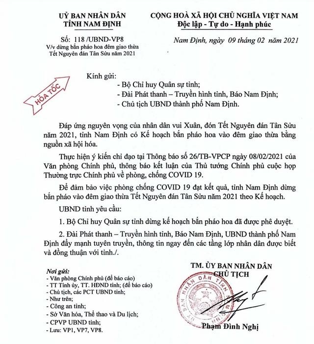 Nam Định ra công văn hỏa tốc hủy kế hoạch bắn pháo hoa đêm Giao thừa - 1