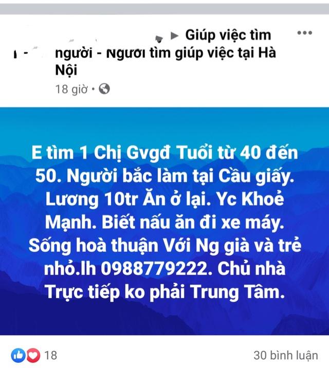 Nhiều gia đình ở Hà Nội loay hoay tìm người giúp việc sau Tết - 2