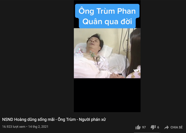YouTube nhan nhản nội dung câu view, sai sự thật về NSND Hoàng Dũng - 2