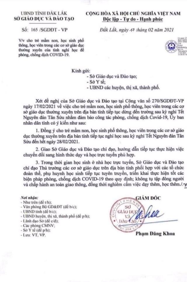 Văn bản nghỉ học bị giả mạo tại Đắk Lắk, cơ quan chức năng vào cuộc làm rõ - 1