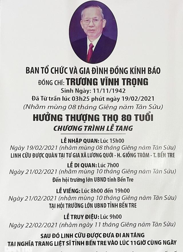 Những dòng tiễn biệt nguyên Phó Thủ tướng Trương Vĩnh Trọng - 13