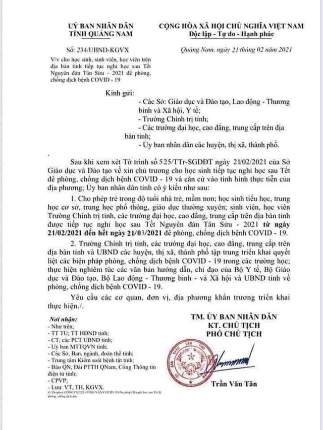 Quảng Nam: Xuất hiện văn bản giả cho học sinh nghỉ học đến ngày 21/3/2021 - 1