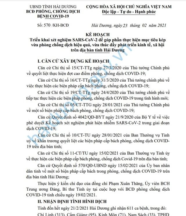 Hải Dương xét nghiệm SARS-CoV-2 trên diện rộng từ ngày 24/2 - 2