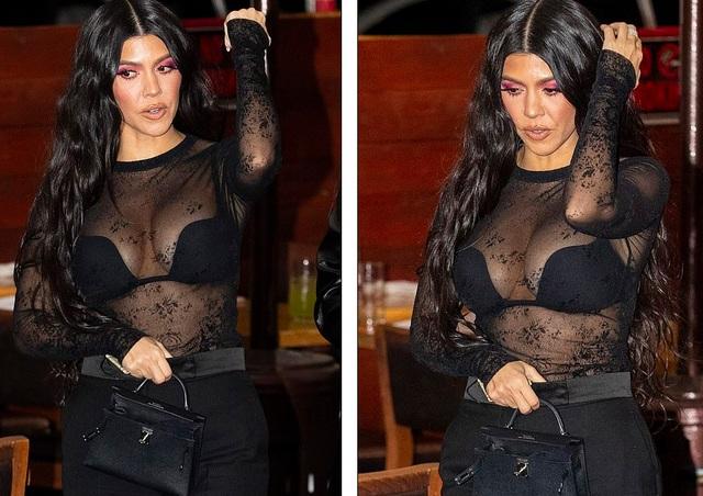 Kim Kardashian diện váy ôm sát đi ăn cùng chị gái - 6