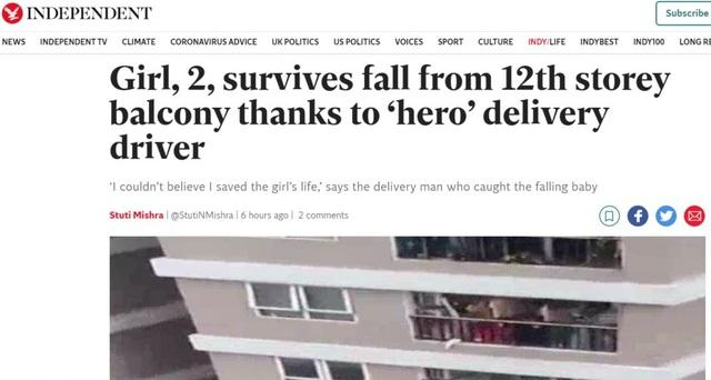 Báo chí quốc tế khen ngợi anh Nguyễn Ngọc Mạnh cứu em bé rơi từ chung cư  - 1