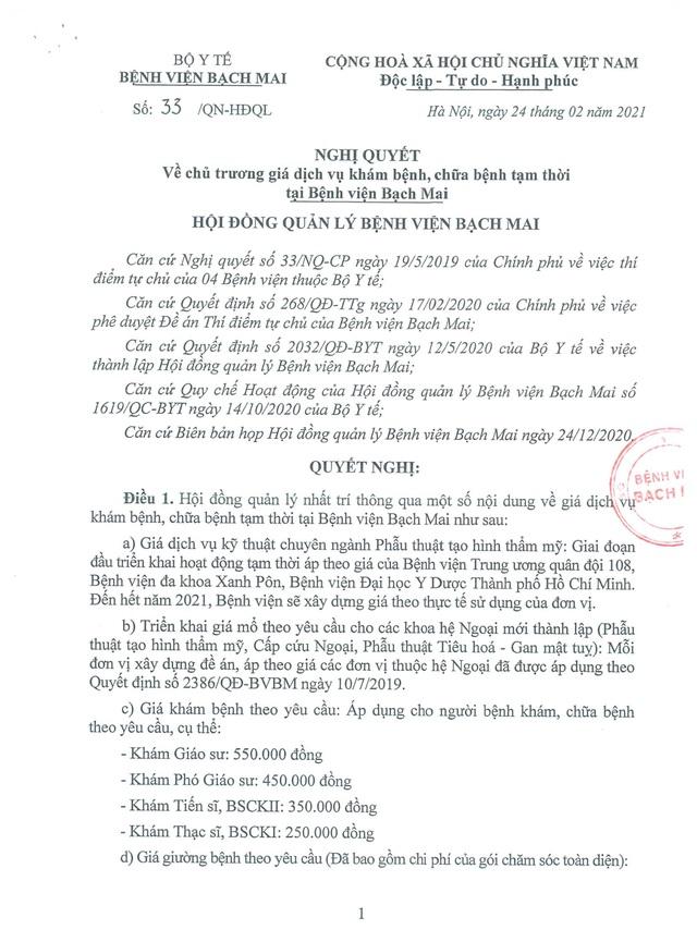 Bộ Y tế yêu cầu BV Bạch Mai không tăng giá khám 550 nghìn, giường 3,3 triệu - 1