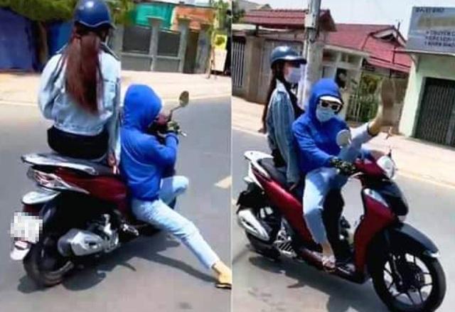 Triệu tập thanh niên làm xiếc khi lái xe máy trên đường - 1