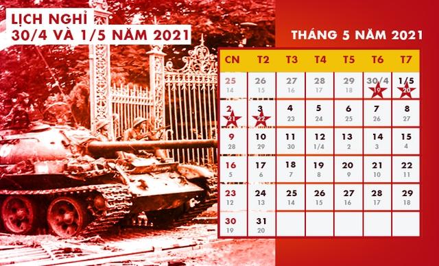 Lịch nghỉ Giỗ Tổ Hùng Vương, Ngày Chiến thắng 30/4 và Quốc tế Lao động 1/5 - 2