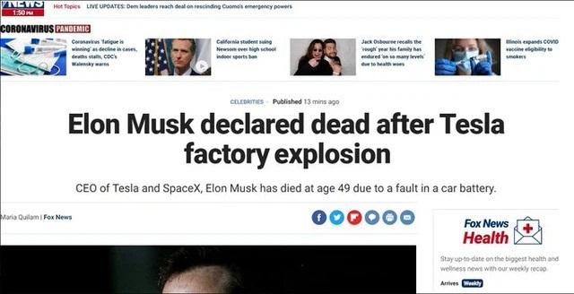 Thông tin Elon Musk qua đời trong một vụ nổ gây hoang mang mạng xã hội - 1