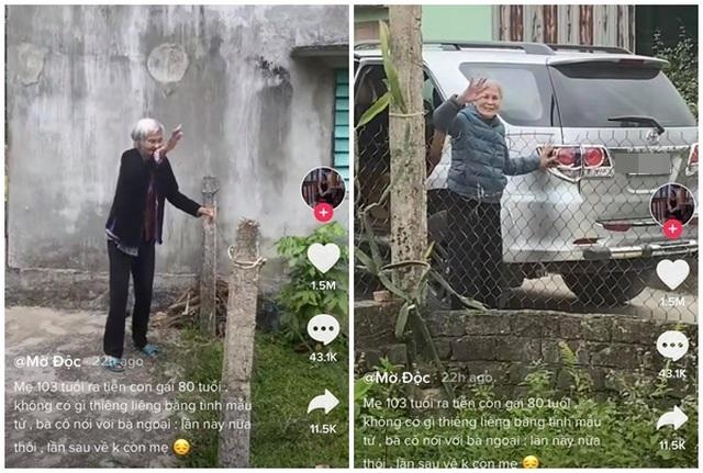 Rơi nước mắt hình ảnh cụ bà 103 tuổi bịn rịn tiễn con gái 80 tuổi về nhà - 1
