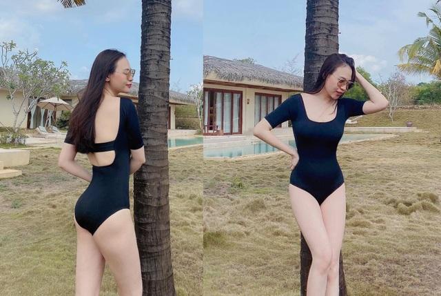 Bà mẹ một con Đàm Thu Trang khoe dáng thon gọn với áo tắm - 1