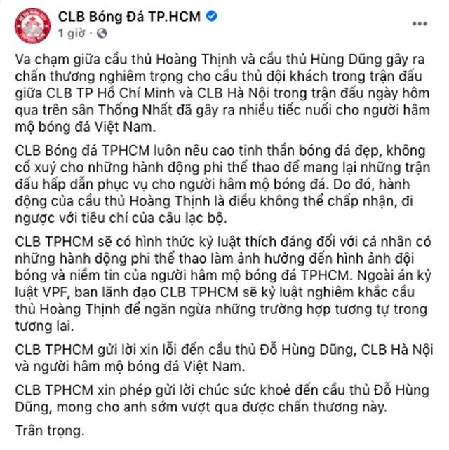 CLB TPHCM xin lỗi Hùng Dũng, tuyên bố xử nghiêm Hoàng Thịnh - 2