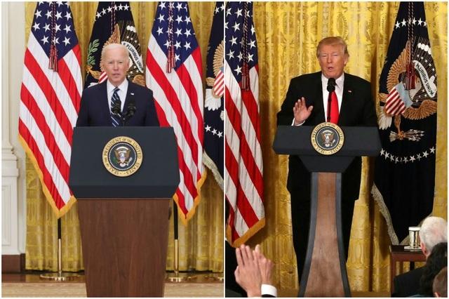 Phong cách họp báo khác biệt hoàn toàn giữa Biden và Trump - 1