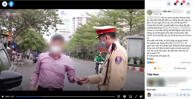 Lãnh đạo Thanh tra Sở Xây dựng Hà Nội bỏ xe để né đo nồng độ cồn? - 1