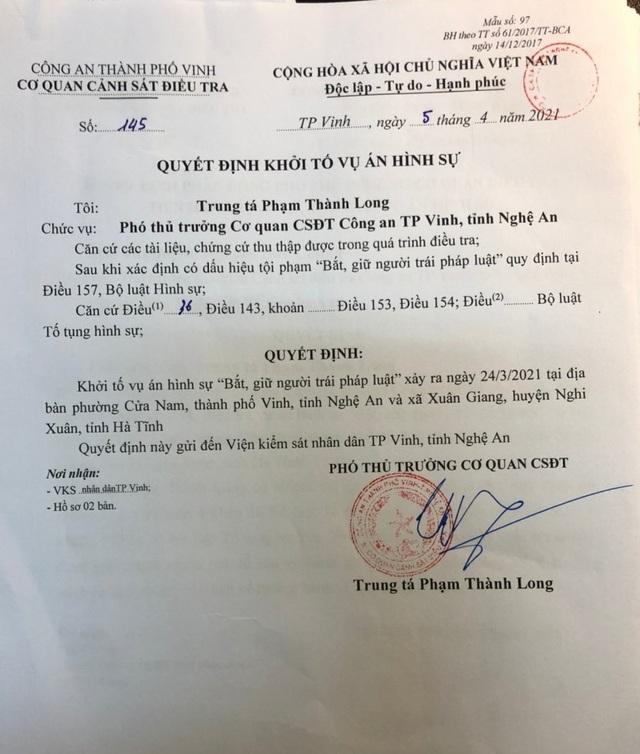 4, Trung tá Phạm Thành Long - Phó thủ trưởng Cơ quan cảnh sát điều tra Công an TP Vinh ký quyết định khởi tố vụ án hình sự nhóm đối tượng liên quan đến nam thanh niên bị chôn sống về tội: %22Bắt, giữ người trái pháp luật%22.jpeg