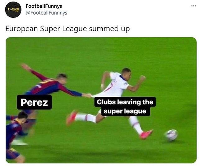 Mạng xã hội tràn ngập ảnh chế sự sụp đổ của European Super League - 5