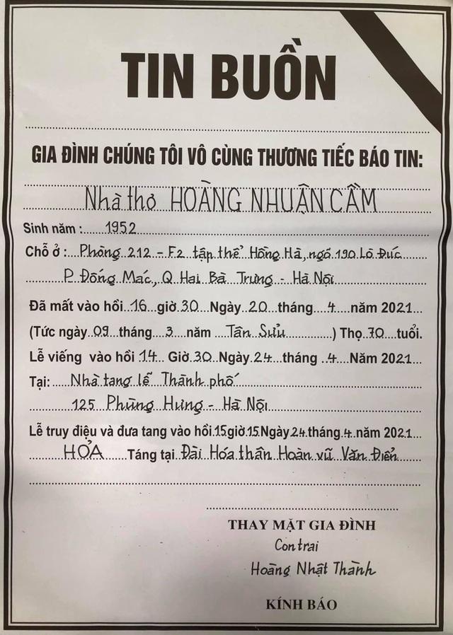 Thông tin về tang lễ nhà thơ Hoàng Nhuận Cầm - 2